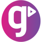 GCSE POD company logo pink purple background with white g at the centre and a play symbol