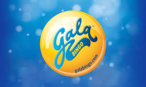 Gala Bingo Company Logo blue background with a yellow bingo ball at the centre with gala in blue text and bingo in yellow text.
