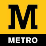 Metro Logo Newcastle upon Tyne black and yellow background with white text and a black M logo